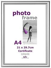 A4 Certificate Photo Picture Frame Silver Stand and Hanging Hook Acetate Fronts