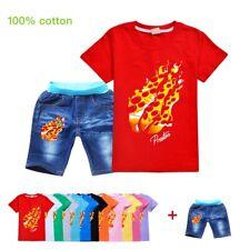 PRESTONPLAYZ Tracksuit Youth Children Short Sleeve T-Shirt Tops + Denim shorts