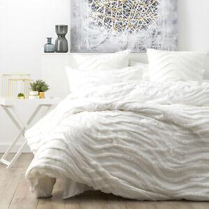 Vintage Cotton Chenille tufted Cloud Linen Wave Quilt cover Set White
