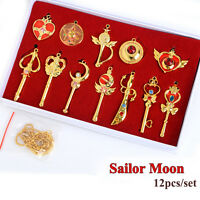 12pcs/set Anime Sailor Moon Pretty Guardian Pendant Necklace Cosplay Gift Golden