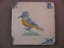 Antique polychrome Dutch Delft tile bird 17th century - free shipping