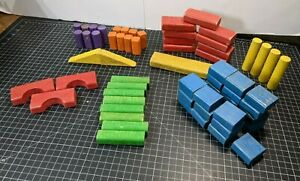Vintage Playskool 1970s Colored Wood Wooden Building Blocks Lot of 64 Pieces