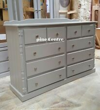 HANDMADE BUCKINGHAM (GREY SILVER HANDLES)  6+4 (10) LONG CHEST OF DRAWERS