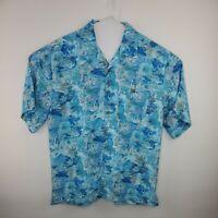 Joe Marlin Mens Hawaiian Blue Floral Short Sleeve Rayon Blend Lg