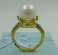 Gorgeous AAA 10-11mm real natural south sea white pearl ring 925 Sterling silver