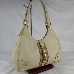 Authentic Vintage Gucci Bardot Cream Leather Small Shoulder Hobo Handbag Purse