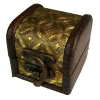 Rustic Wooden Colonial Style Trunk Treasure Chest Vintage Mini Gold Box