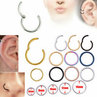 Surgical Steel Hinged Seamless Segment Ring Nose Hoop Earring Labret Septum Ring