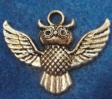 5Pcs. Tibetan Silver Large OWL Detailed Pendants Charms Earring Drops BD150
