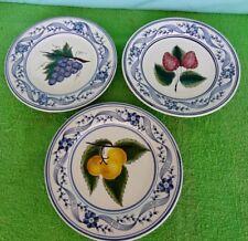 VTG 3 Azulcer Portual Pottery Fruit Plates Strawberry, Grapes, salad Plates Lot