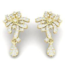 1ctw Round Natural Diamond 10K Yellow Gold Earrings Women's Flower Chandelier