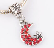 925 Silver CZ Moon and stars pendant Fit European Charm Bead Bracelet B#144