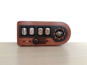 Nixie tube clock with a dekatron tube in wooden case - Mahogany color