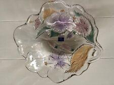 Studio Nova Crystal HIBISCUS Floral Glass Salad/Fruit Bowl -Lovely