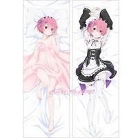Re:Zero 2017 Dakimakura Ram Anime Girl Hugging Body Pillow Case Cover