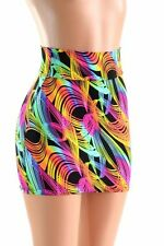 SMALL Neon Traffic Swirl Print Bodycon Spandex Mini Skirt NWT Ready to Ship!