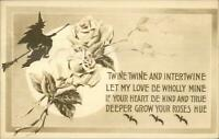 Halloween - Gibson Art Witch on Broom & Flowers c1910 Postcard B&W EXC COND