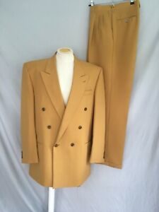 Gold yellow mens double-breasted suit wide lapels excellent condition zoot suit