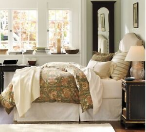 elegant tailored beige moire bed skirt queen size, made in USA, new in package