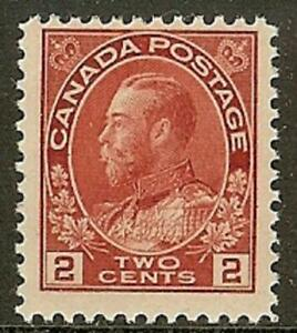 Canada 1912 George V Admiral Issue 2¢ Carmine #106 F, NH - dw7.31