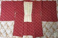 Unused  Japanese Kimono Haori All Shibori  Silk Cardigan Jacket Red With String
