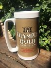 Olympia Gold Light Beer Vintage 70s Thermo Serv Plastic Insulated Stein Mug Cup