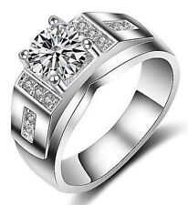 Moissanite Silver Ring Size 9+3/4 Men'S 1.8 Carat Sparkly Simulated