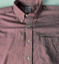 Brooks Brothers 346 Dress Shirt Oxford Red Pinstripe Non Iron 16 1/2/35 Pocket