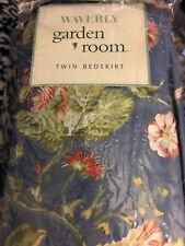 Waverly Garden Room Masterpiece Twin Size Blue Floral Bed Skirt/Ruffle