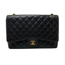 Chanel Black Quilted Caviar Classic Maxi Double Flap Bag 100% Auth