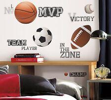 All Star Sports 24 BiG Wall Stickers Baseball Soccer Ball Room Decor Decals Rm2