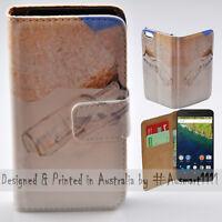 For Google Pixel 2 XL Nexus 6P Message in a Bottle Print Wallet Phone Case Cover