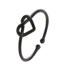 Fashion Silver Gold Black Opening Ring Knot Heart For Women Girl Adjustable x 1