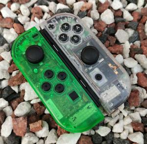 Custom Clear Green & Transparent Nintendo Switch Joycon Controllers Vivid Colour