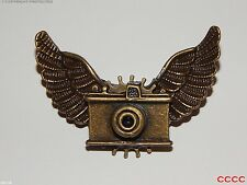 Steampunk brooch badge owl wings cog Harry Potter bronze camera photographer tog