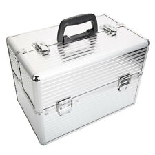 "14"" Pro Aluminum Makeup Train Case Jewelry Box Cosmetic Organizer Black Lockable"