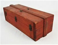 Antique Vintage Primitive Wood Rustic Red Painted Tool Box