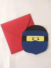 Einladungskarten Ninja wie Ninjago+Briefumschlag für Geburtstag selbstgebastelt