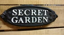 'SECRET GARDEN'' Oval Sign Rustic Brown & White for your carden or greenhouse.