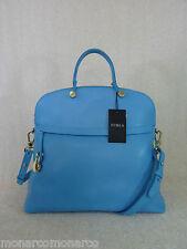 NWT FURLA Atlantic Blue Saffiano Leather Piper M Bugatti Bag $498 Made in Italy