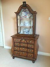 Rare & Petite 18th Century Dutch Walnut & Marquetry Cabinet on Chest