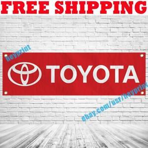 Toyota Logo Banner Flag 18x59 in Car Racing Show Garage Wall Decor Sign 2021 NEW