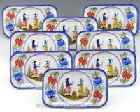 Henriot Quimper Massilly France METAL TRAYS or BREAD PLATES MAN & WOMAN Set of 8