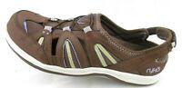 Ryka Casual Brown Leather Mesh Walking Heel Strap Slip On Sandal Shoe Women 8.5M