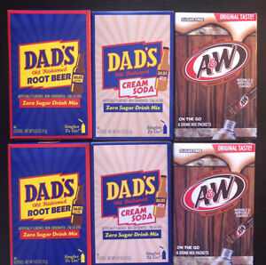 Rare! Dads Root Beer & Cream Soda & A&W Root Beer Drink Mix 6 Boxes/36 Packets