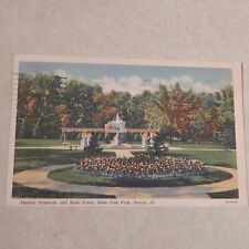 Vintage Postcard Electric Fountain And Rose Arbor, Glen Oak Park Peoria Illinois