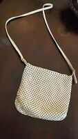 Whiting and Davis Pewter/Beige Mesh Crossbody Purse Women Handbag.