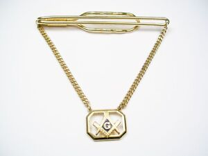 Vintage Tie Chain with Guard Freemason Tie Clip with chain Masonic Fraternity