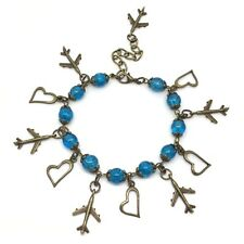Traveller Backpacker Christmas Gift Present Aeroplane Blue Bronze Charm Bracelet