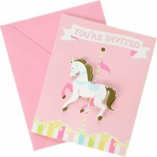 Carousel Horse Animal Pastel Pink Cute Baby Shower Party Invitations w/Envelopes